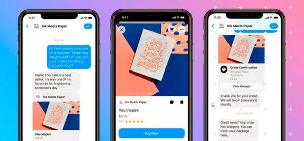 Ilustración gestión de ventas y mensajes por Messenger de facebook