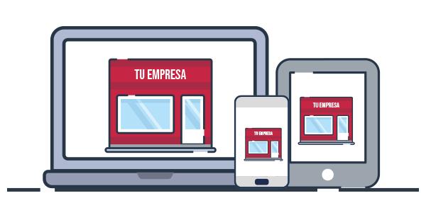 Ilustración presencia página web en diferentes dispositivos