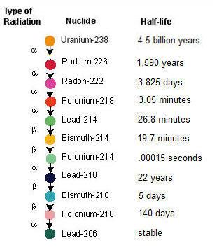 radon decay half life chart