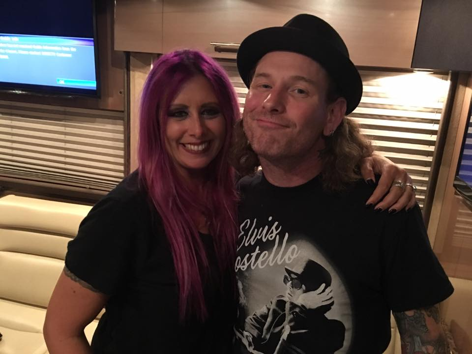 Mistress Carrie backstage with Corey Taylor from Slipknot