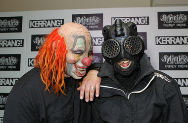 Clown and Sid of Slipknot pose in the winners room at The Kerrang! Awards at the Troxy on June 13, 2013 in London, England