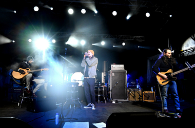 Musicians Ben Kenney (L), Brandon Boyd (C) and Mike Einziger (R) of the band Incubus perform onstage during the One Love Malibu Festival