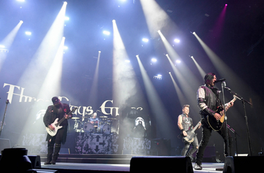 Guitarist Barry Stock, drummer Neil Sanderson, bassist Brad Walst and singer Matt Walst of Three Days Grace perform