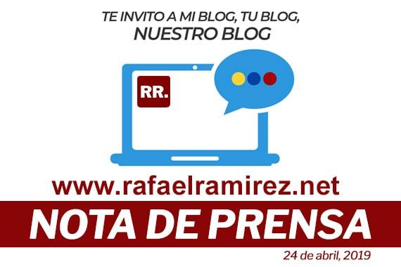 Rafael Ramírez lanza blog para abrir espacios a la batalla de ideas y organizar al pueblo