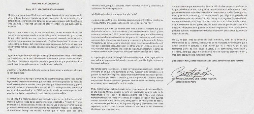 Carta de MANUEL RICARDO CRISTOPHER FIGUERA