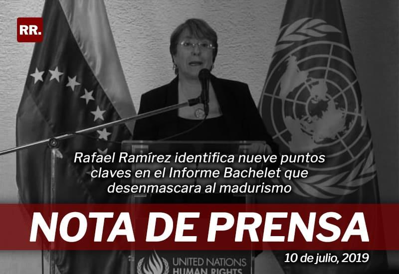 Rafael Ramírez identifica nueve puntos claves en el Informe Bachelet que desenmascara al madurismo