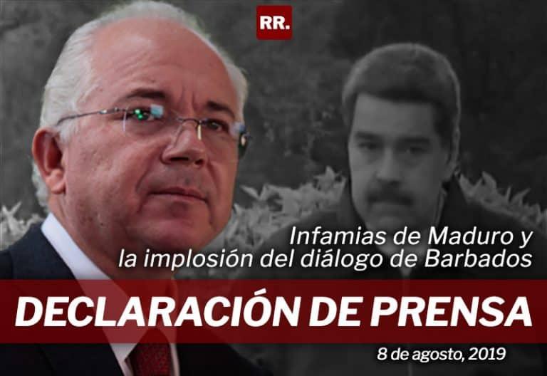 Declaración de prensa sobre infamias de Maduro y la implosión del diálogo de Barbados