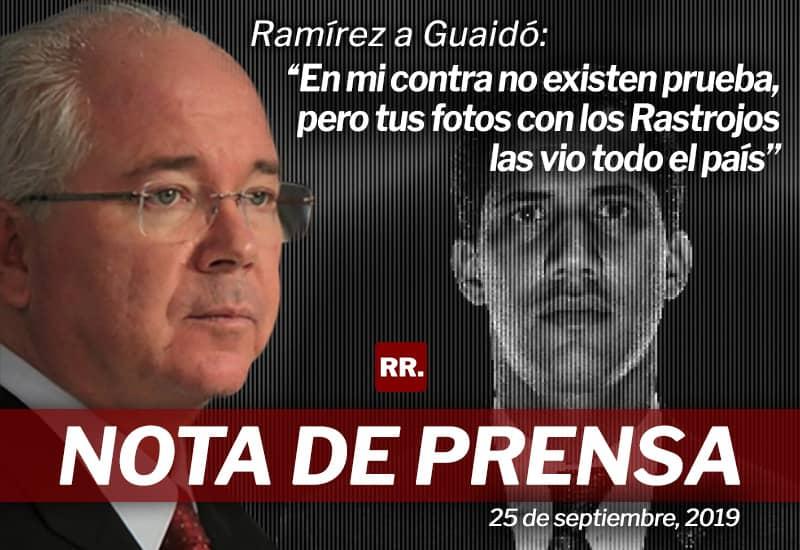 """Ramírez a Guaidó: """"En mi contra no existen pruebas, pero tus fotos con los Rastrojos las vio todo el país"""""""