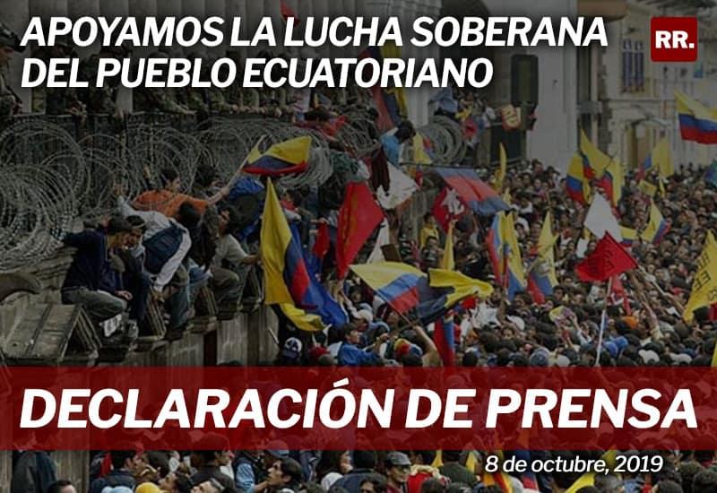 Apoyamos la lucha soberana del pueblo ecuatoriano
