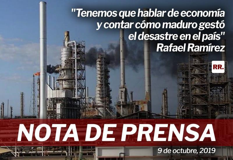 """Rafael Ramírez: """"Tenemos que hablar de economía y contar cómo maduro gestó el desastre en el país"""""""