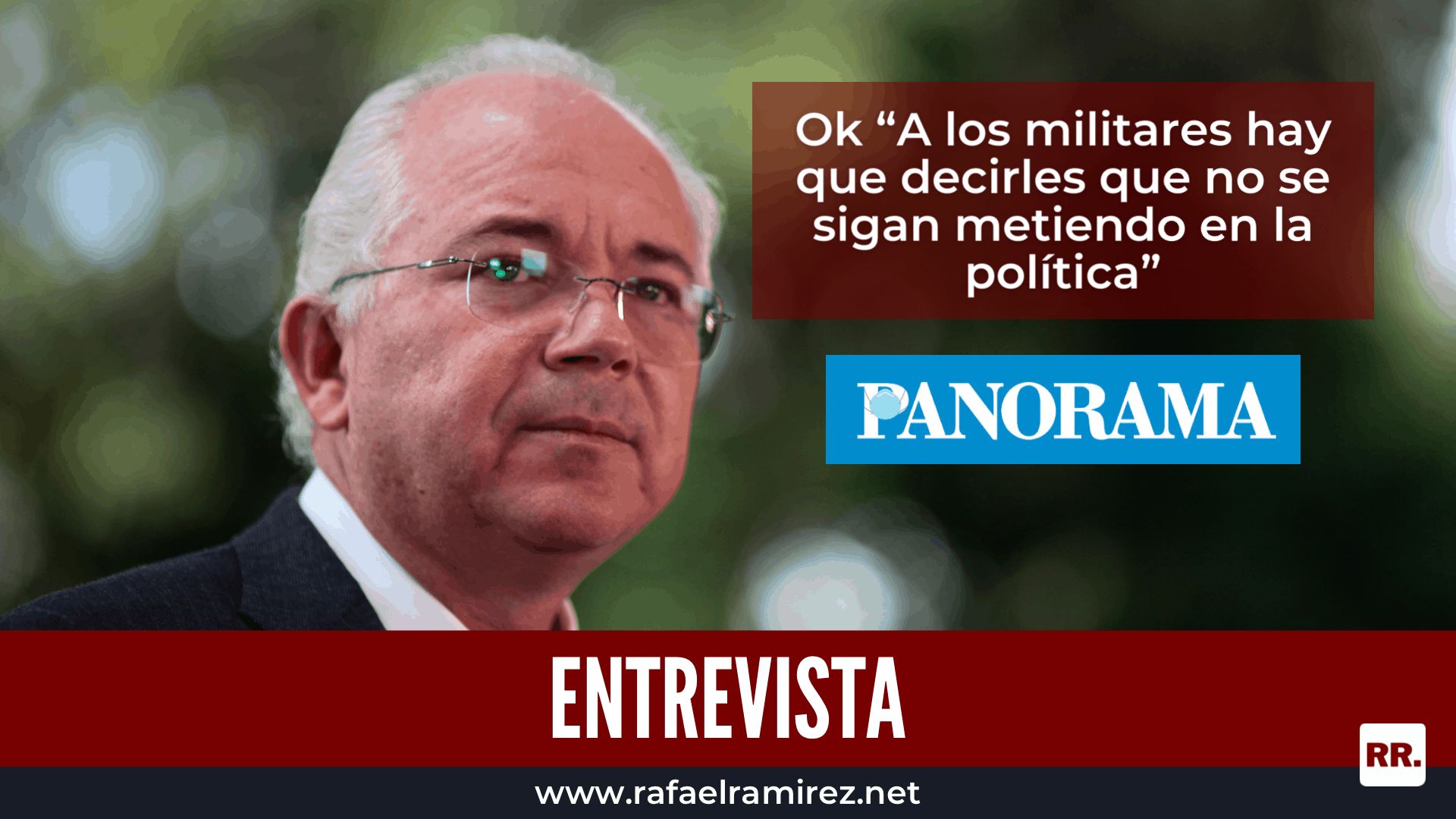 """Rafael Ramírez desde el exilio: """"El Gobierno no va a poder evitar que haya un reacomodo de las fuerzas políticas, ahora, tú me dices de manera concreta cuál creo yo que es la oportunidad, creo que tenemos que prepararnos para revocar a Maduro""""."""