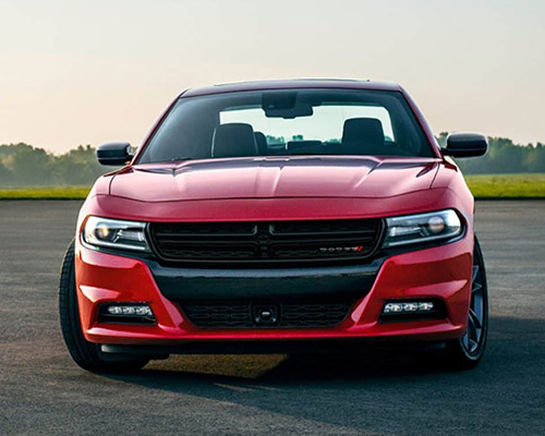 Red Dodge Charger R/T available for sale at Eide Chrysler in Bismarck.