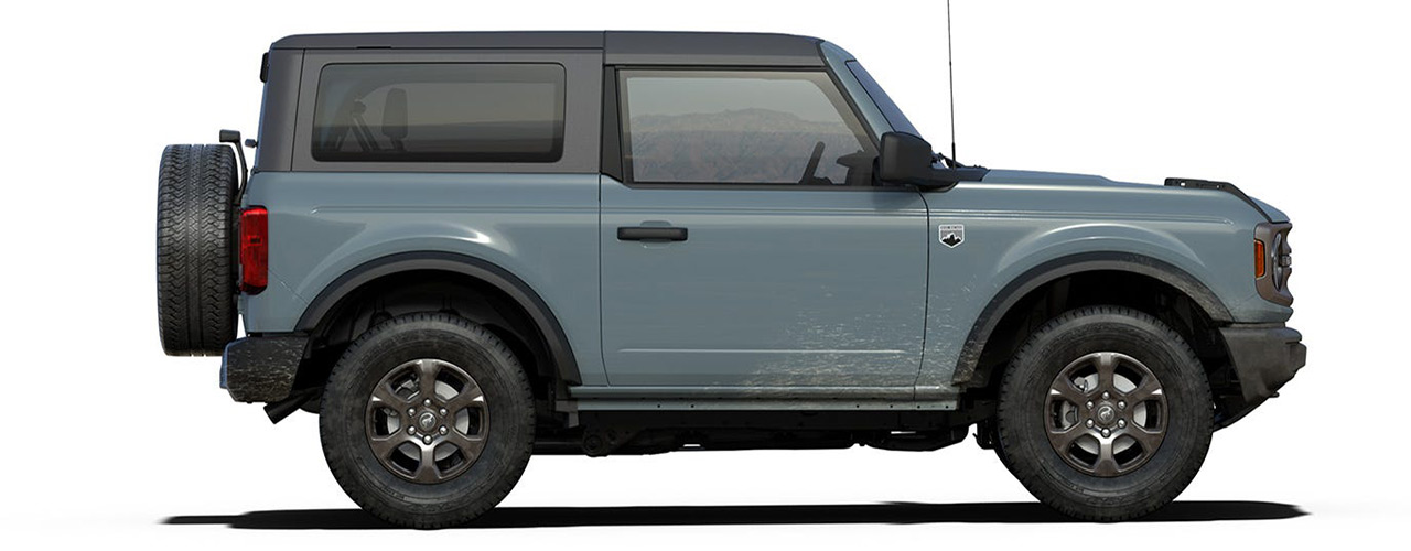 Blue 2021 Ford Bronco for sale at Bill Dube Ford in Dover NH.