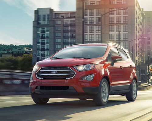 Red 2019 Ford Ecosport SE for sale at Bill Dube Ford in Dover.