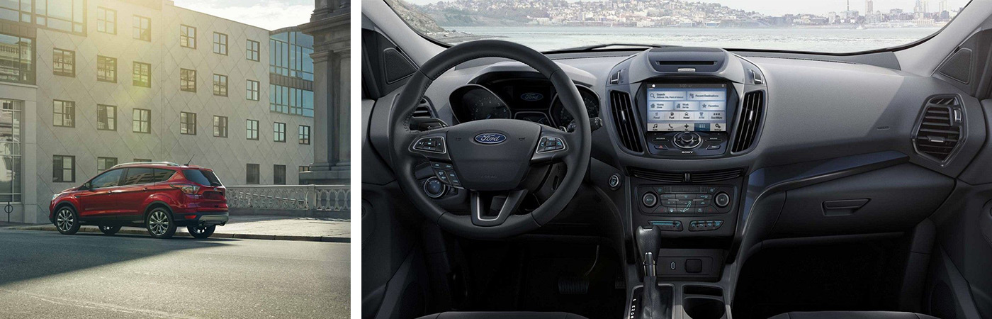 Showcasing the various controls and safety features found in a 2019 red Ford Escape from Bill Dube Ford in Dover.