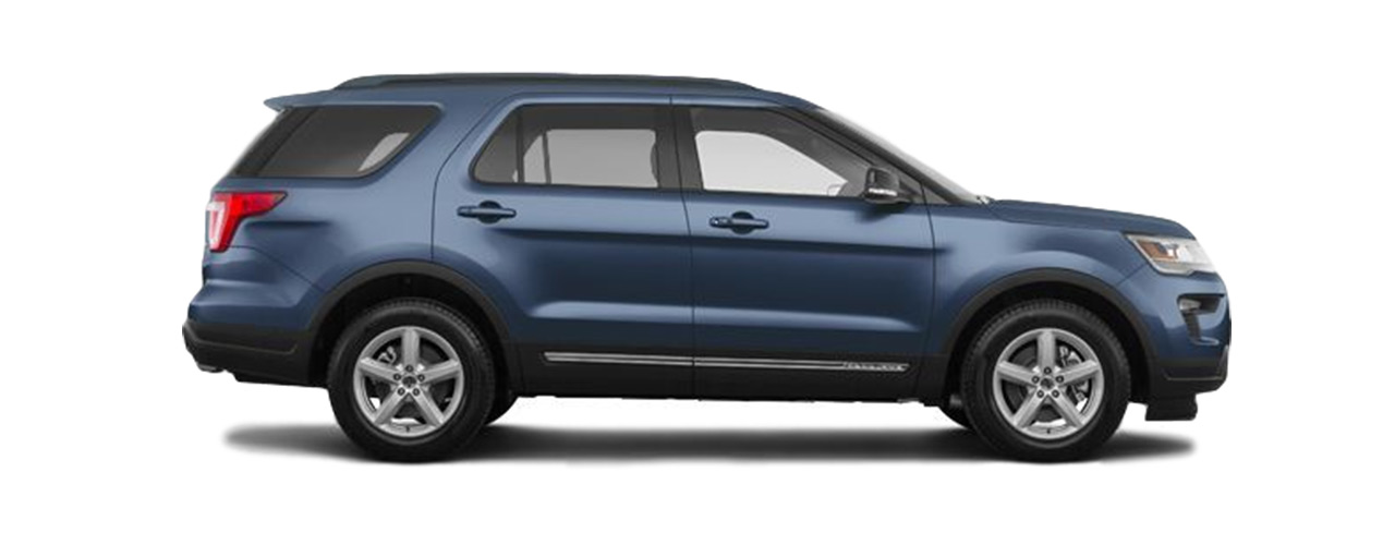 2019 blue Ford Explorer for sale of lease here at Eide Ford Lincoln in Bismarck.