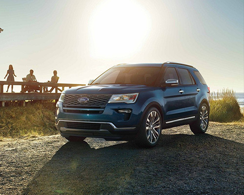 Blue 2019 Ford Explorer Platinum available at Chuck Colvin Ford Nissan in McMinnville.