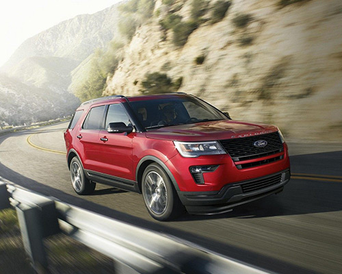 2019 Red Ford Explorer Sport available here at Eide Ford Lincoln in Bismarck.
