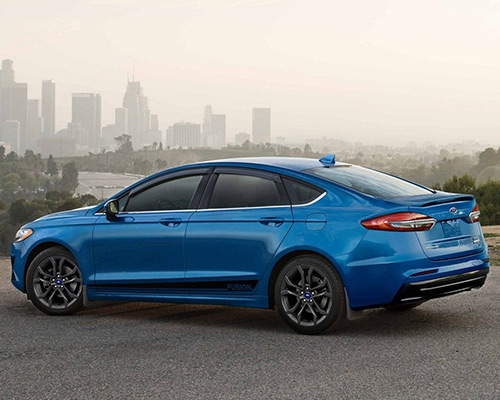 2019 blue Ford Fusion SE for sale at Bill Dube Ford in Dover.