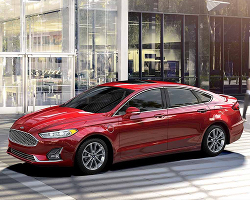 2019 red Ford Fusion SEL for sale at Sayville Ford in Long Island.