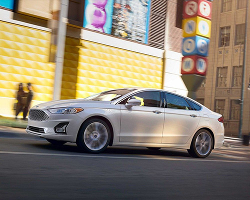 2019 white Ford Fusion Titanium for sale at Sayville Ford in Long Island.