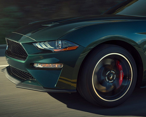2019 green Ford Mustang BULLITT for sale at Bill Dube Ford in Dover NH.