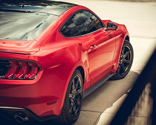 2019 red Ford Mustang EcoBoost for sale at Bill Dube Ford in Dover NH.