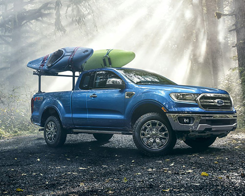 Blue Ford Ranger LARIAT for purchase or lease at Sayville Ford in Long Island.