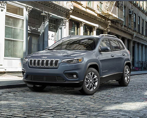 Blue Jeep Cherokee Latitude Plus available at Eide Chrysler in Bismarck.