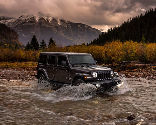 Black Jeep Wrangler Sahara available at Eide Chrysler in Bismarck.
