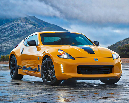Yellow Nissan 370Z Heritage Edition for sale or lease at Boardman Nissan in Youngstown.
