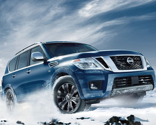 Blue Nissan Armada Platinum for sale or lease at Boardman Nissan in Youngstown.