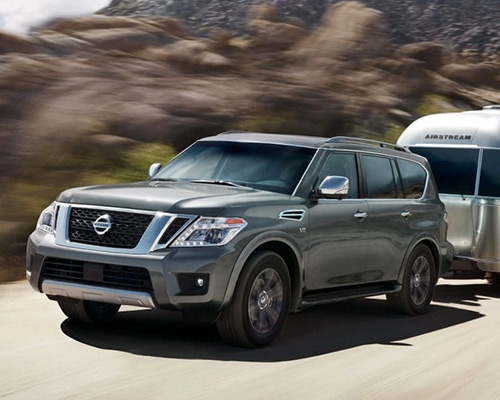 Silver Nissan Armada SL for sale or lease at Universal Nissan in Orlando.
