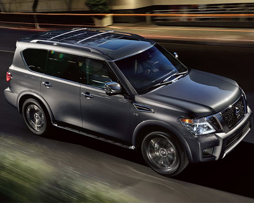 Silver Nissan Armada SV for sale or lease at Universal Nissan in Orlando.