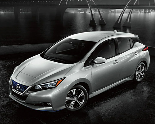 Silver Nissan LEAF SV Plus for sale or lease in Orlando at Universal Nissan.