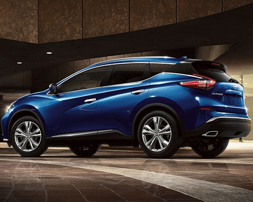 Blue Nissan Murano Platinum for sale or lease at Universal Nissan in Orlando FL.