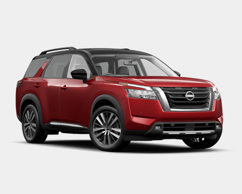 Blue Nissan Pathfinder Platinum for sale or lease at Boardman Nissan in Youngstown OH.