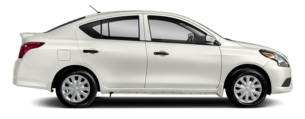 White Nissan Versa for sale or lease at Universal Nissan in Orlando.