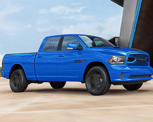 Hydro Blue Ram 1500 Sport waiting for you in Bismarck at Eide Chrysler.