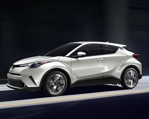 White Toyota C-HR LE for sale or lease at Bill Dube Toyota in Dover.