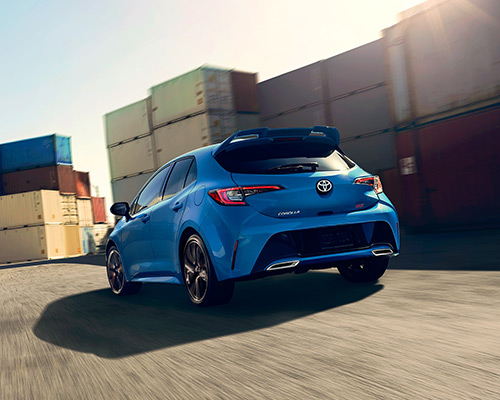 Blue Toyota Corolla Hatchback XSE available for sale or lease here at Bill Dube Toyota in Dover.