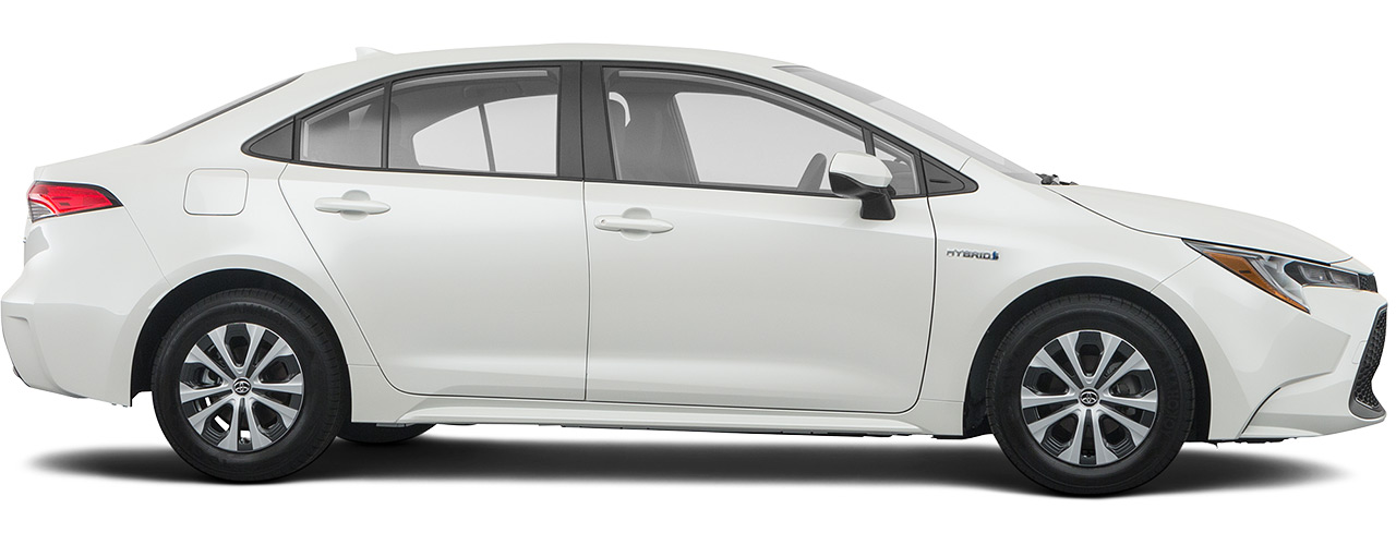 White Toyota Corolla Hybrid for sale or lease at Bill Dube Toyota in Dover NH.