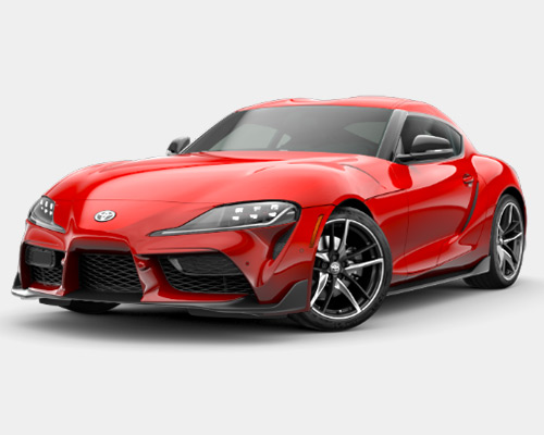 Red Toyota GR Supra 3.0 for sale or lease here at Bill Dube Toyota in Dover NH.