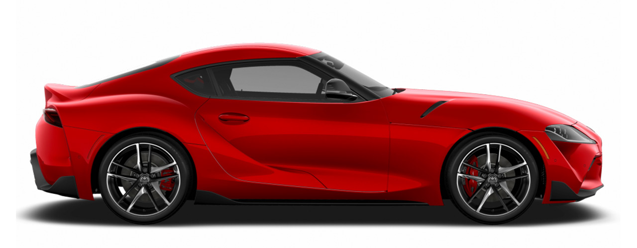 Red Toyota GR Supra for sale or lease at Bill Dube Toyota in Dover NH.
