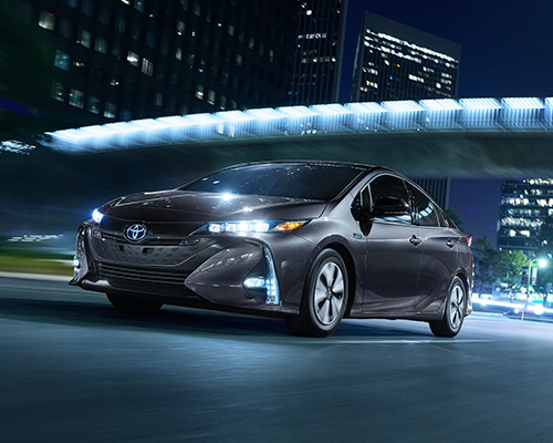 Black Toyota Prius Prime Advanced available at Bill Dube Toyota in Dover.
