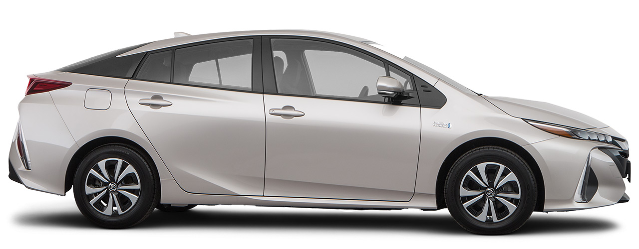 White Toyota Prius Prime for sale or lease at Bill Dube Toyota in Dover NH.