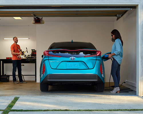 Blue Toyota Prius Prime Premium available at Bill Dube Toyota in Dover.