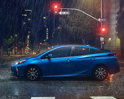 Blue Toyota Prius LE for sale or lease at Toyota of Grand Rapids in Grand Rapids.