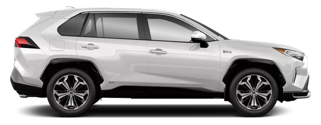 White Toyota RAV4 Prime for sale or lease at Westbury Toyota in Westbury NY.