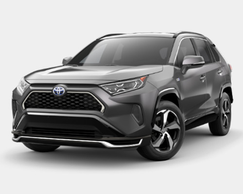 Silver Toyota RAV4 Prime SE for sale or lease at Westbury Toyota in Westbury NY.